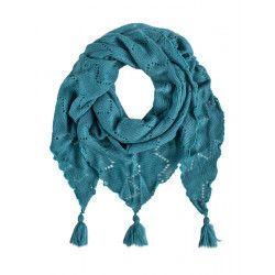 Châle écharpe triangle laine bleu pétrole