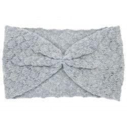 Bandeau headband rétro laine gris souris