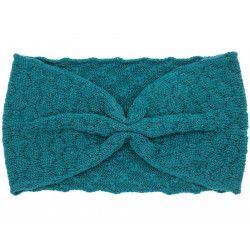 Bandeau headband rétro laine bleu canard