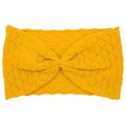Bandeau headband rétro laine jaune moutarde