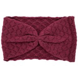 Bandeau headband rétro laine rose framboise