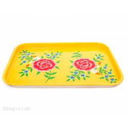 Plateau inox peint à la main Kalas jaune