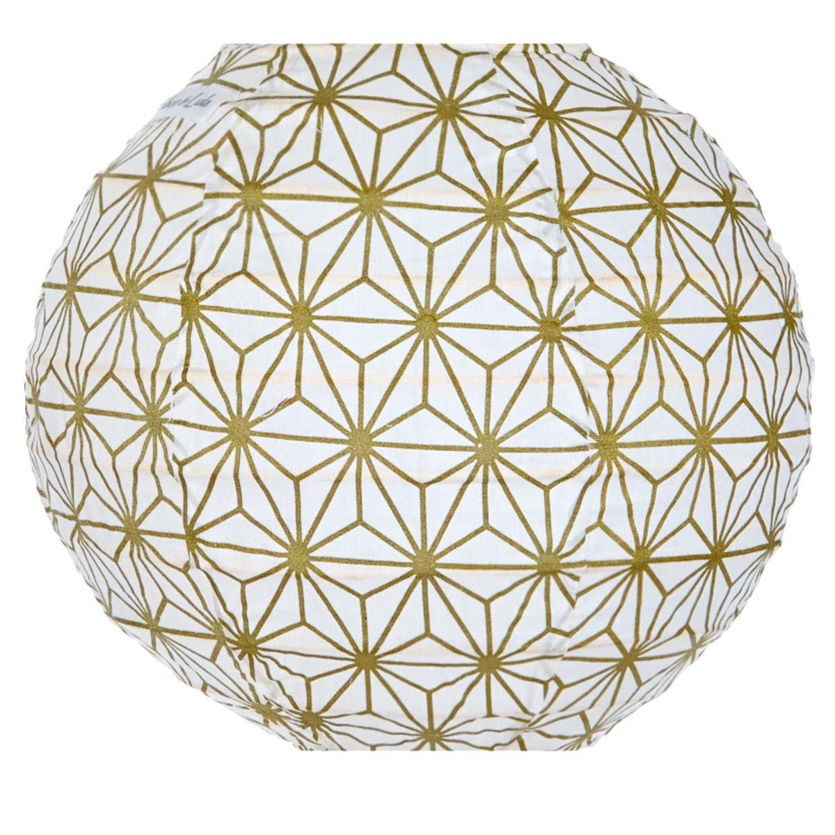 Lampion tissu mini rond Asanoha or