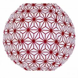 Lampion tissu mini rond Asanoha prune