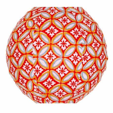 Lampion tissu mini rond Azulejos orange