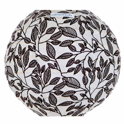 Lampion tissu mini rond Black leaves