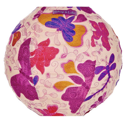 Lampion tissu mini rond Papillons violets