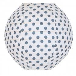Lampion tissu mini rond Pois gris