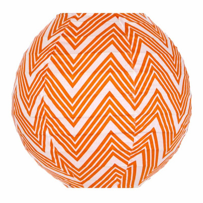Lampion tissu mini rond Zig zag orange