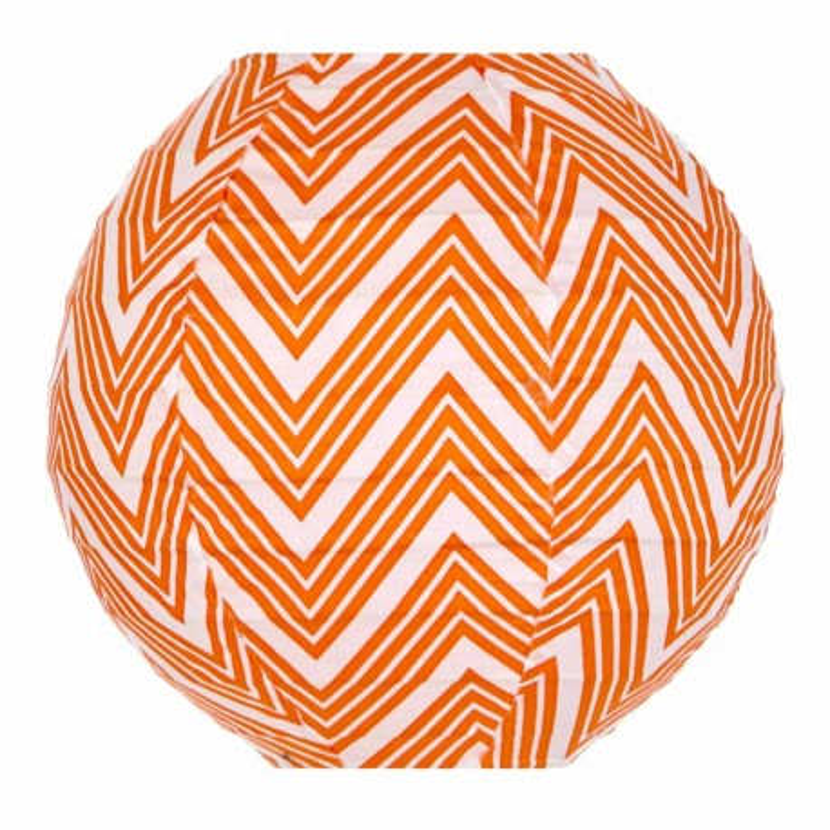 Lampion tissu mini rond Zig zag orange