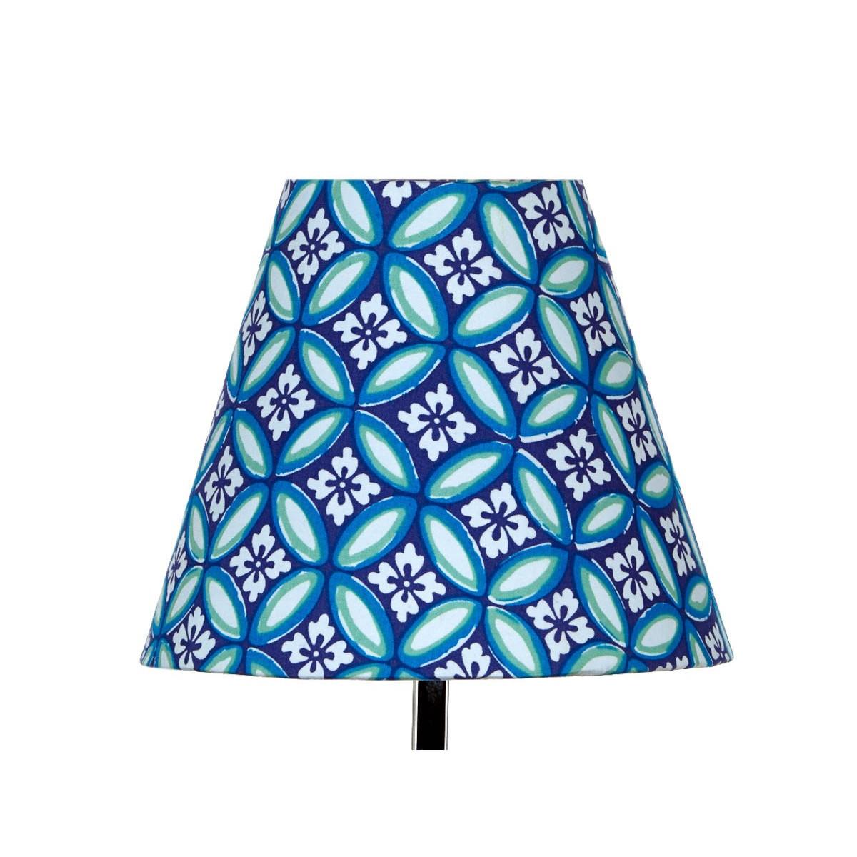 Abat jour lampe de chevet tissu bleu