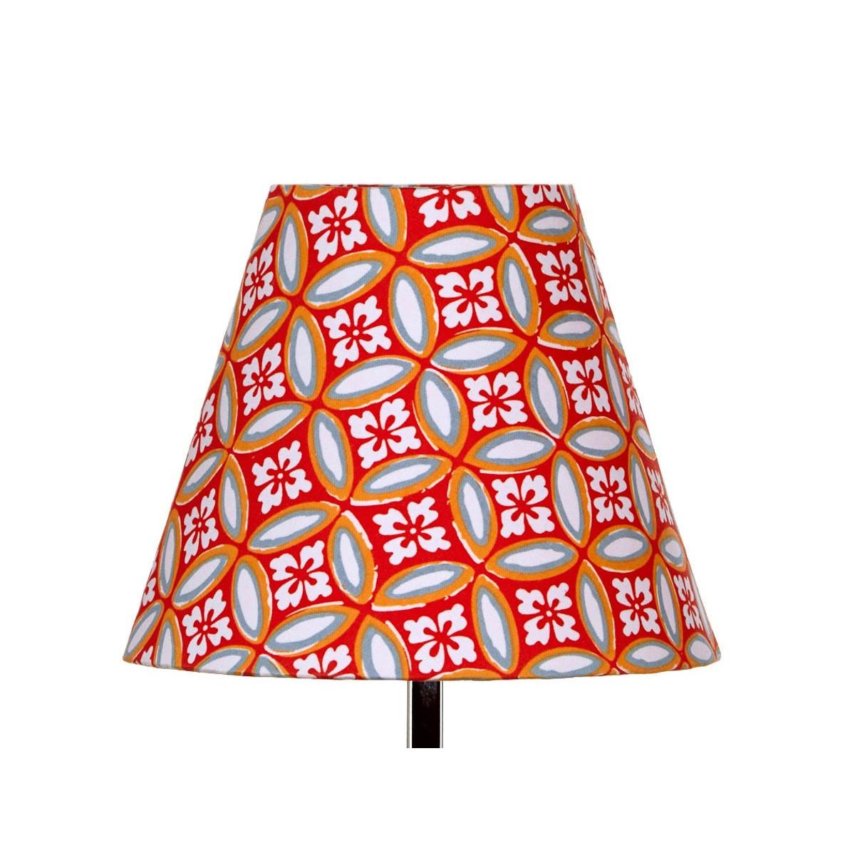 Abat jour lampe de chevet tissu orange