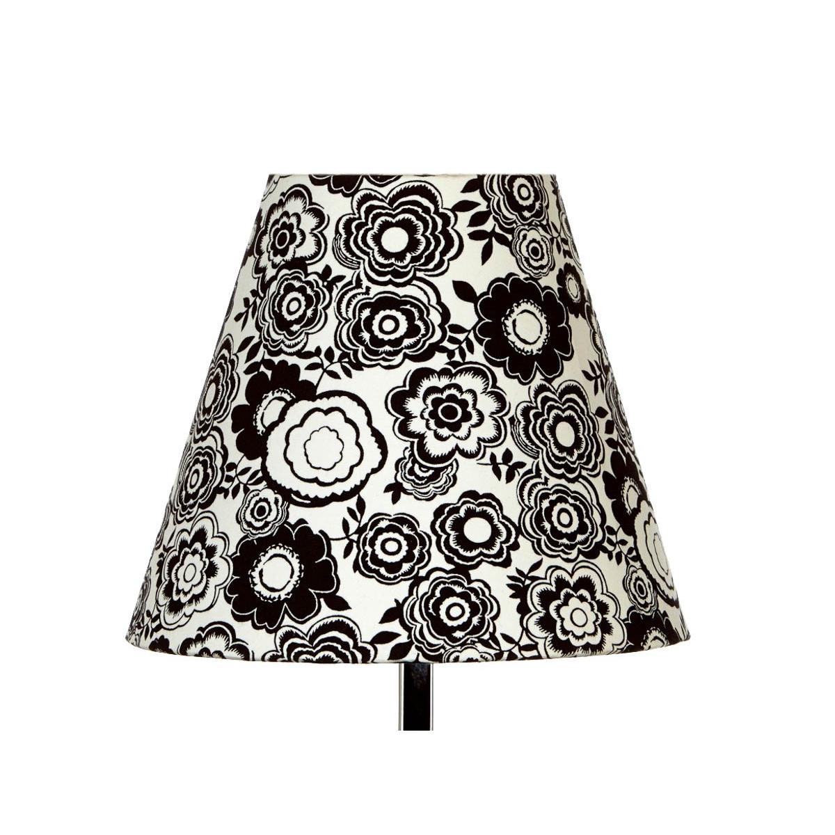 Abat jour lampe de chevet tissu noir et blanc