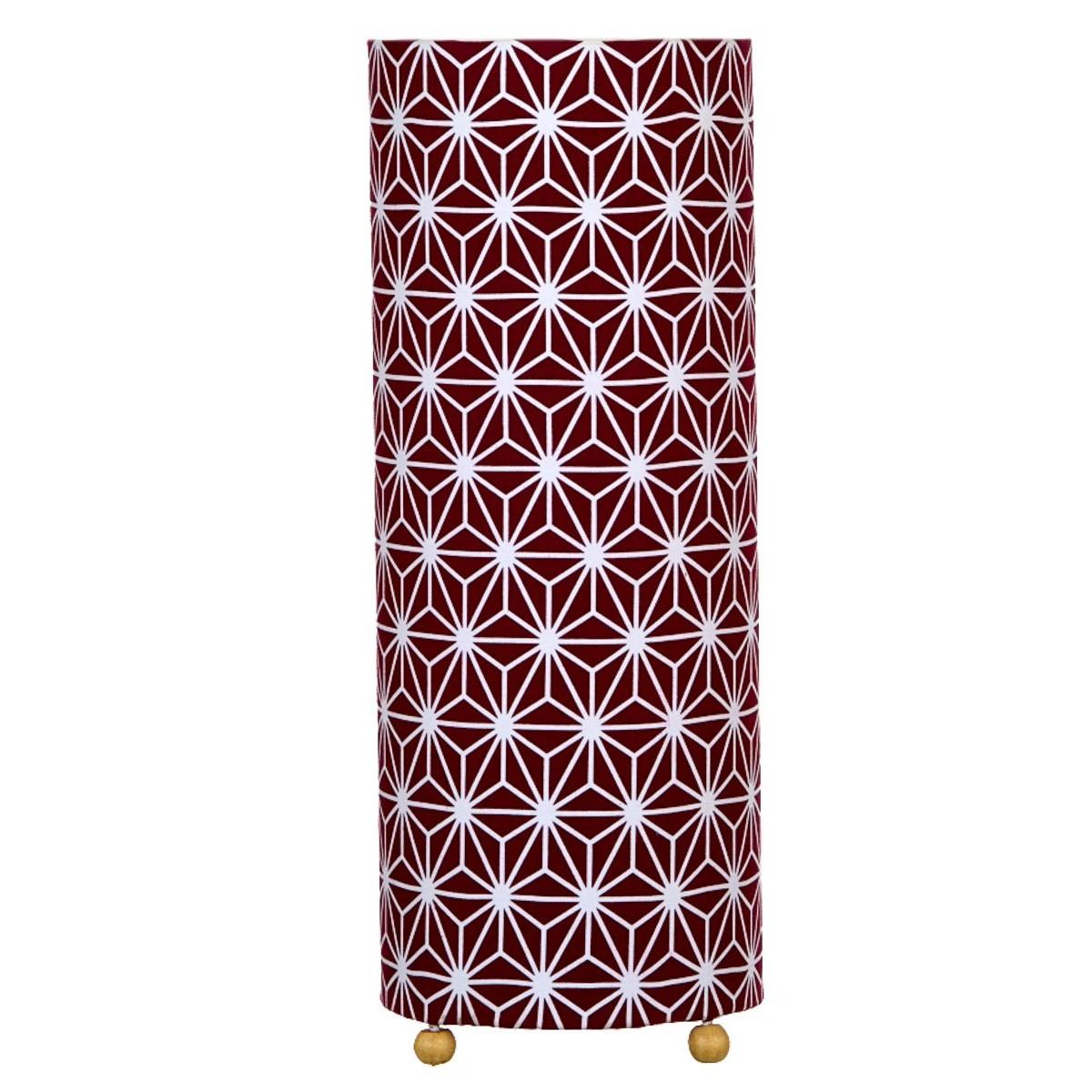 Lampe circulaire de chevet tissu Asanoha prune